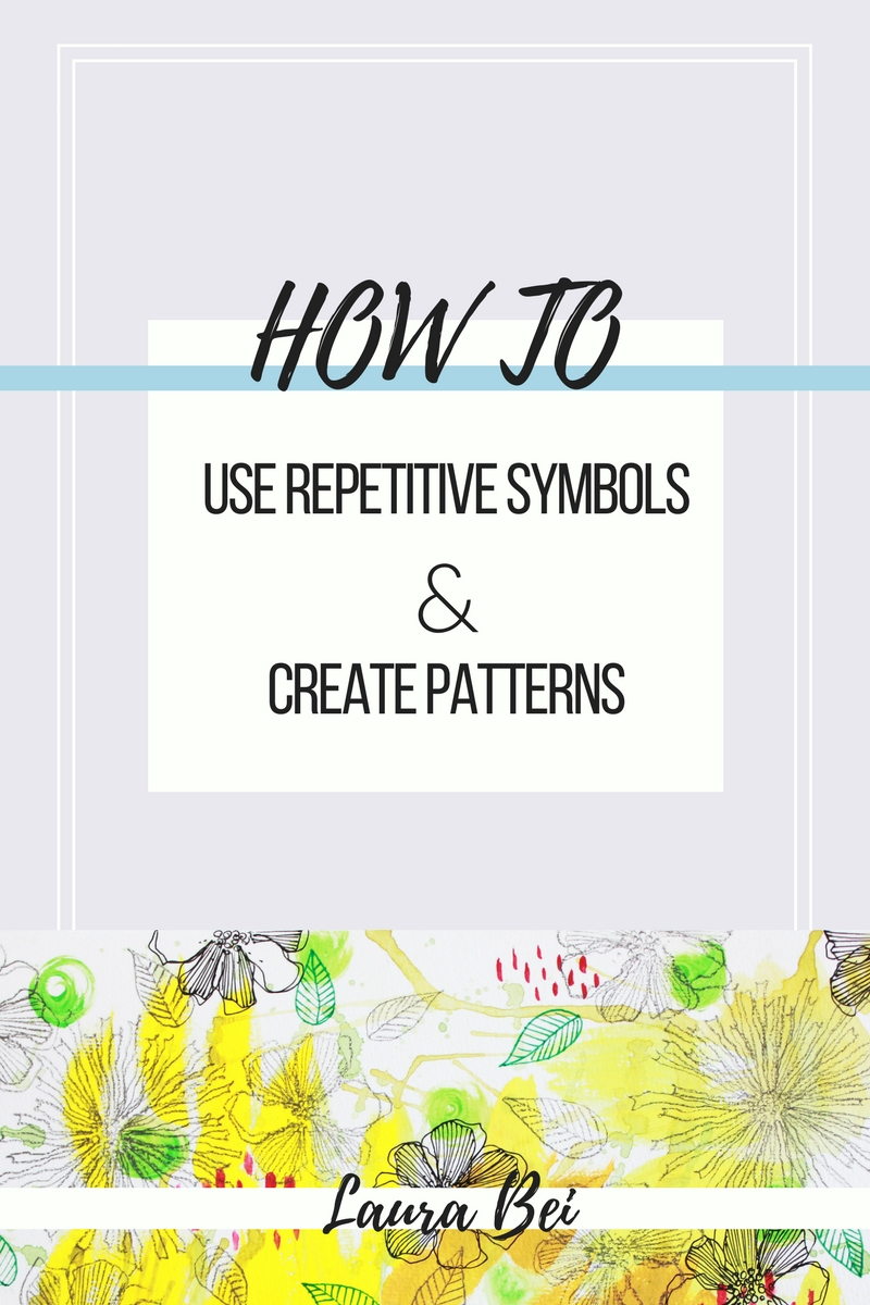 Using repetitive symbols to decorate a background. Perfect for re-using old artwork and creating new!