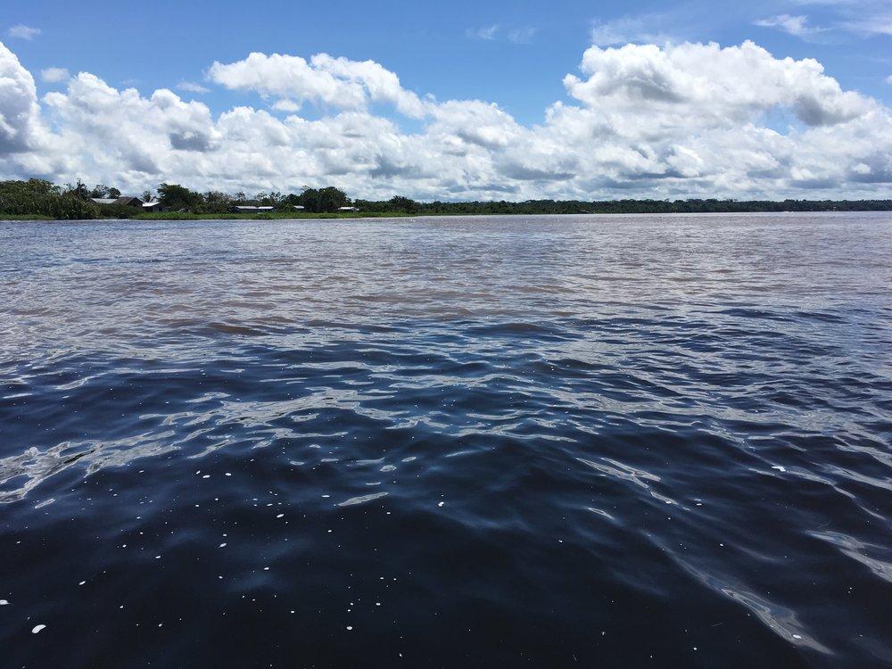 Слияние рек - желтой Амазонки и черной Нанай
