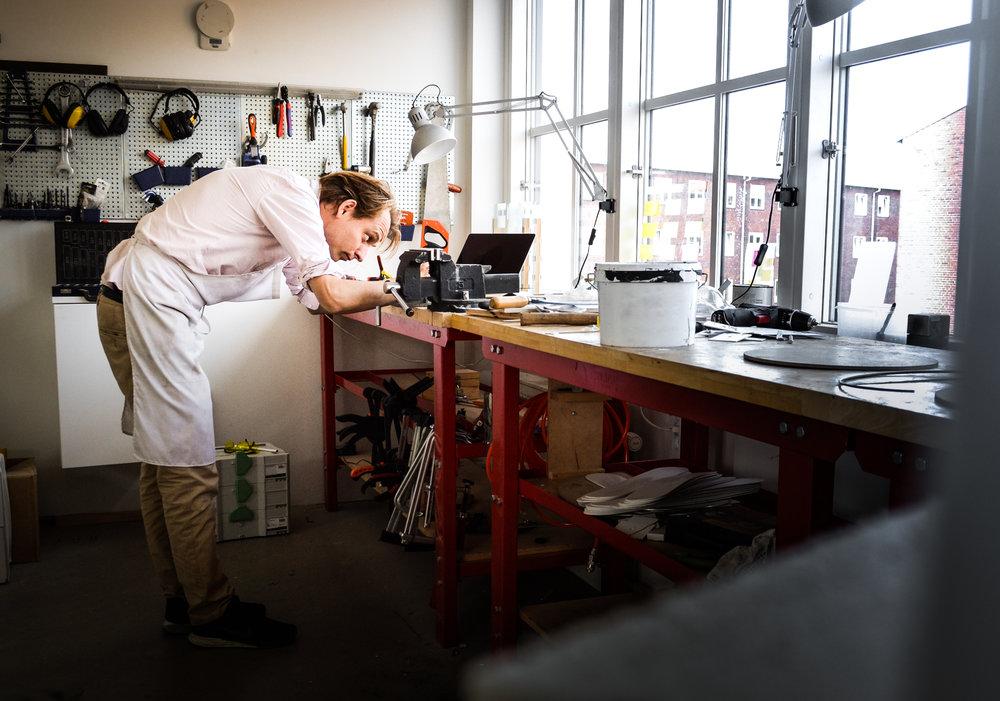 The designer Øivind Alexander Slaatto in his workshop on the northside of Copenhagen.