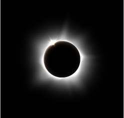 A solar eclipse creates a stunning disc that blocks out the light, except for a narrow ring around the moon.