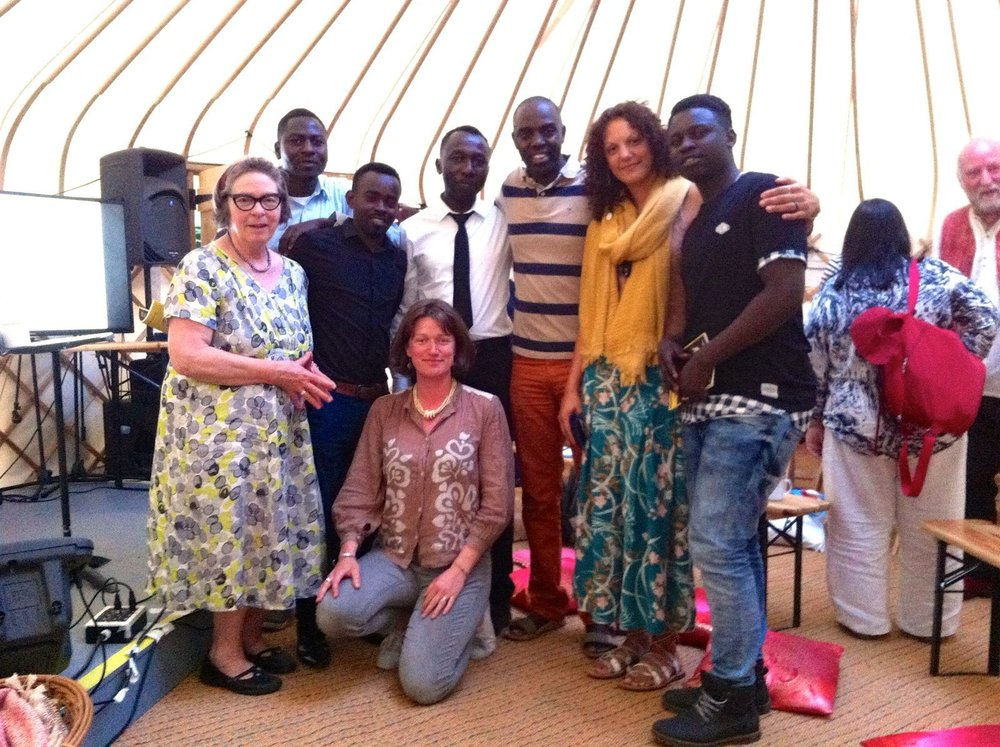 Happiness All Around crew listening and learning from Alex Mvuka Ntung at Wise Words Festival, Canterbury, UK, 2016