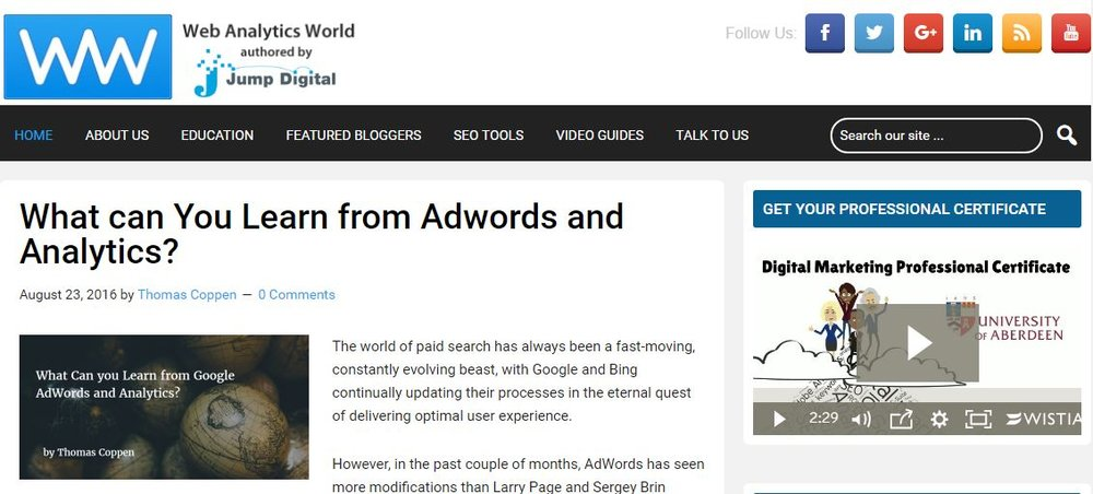 Web Analytics World Blog