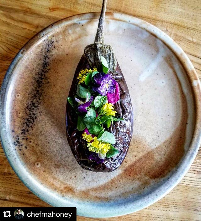 #repost @chefmahoney ✨  Grilled eggplant 🍆 roasted for 6 hours + served with #radicchio #grilledbread and #chimichurri  #vt #food #foodie #foodphotography #newengland #vermont #chefslife #chefsofinstagram #eggplant #flowers #summer #farmtotable #local #foodart #art