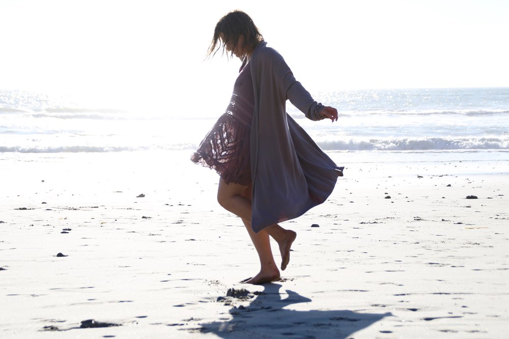 Beach twirls in Ventura, California