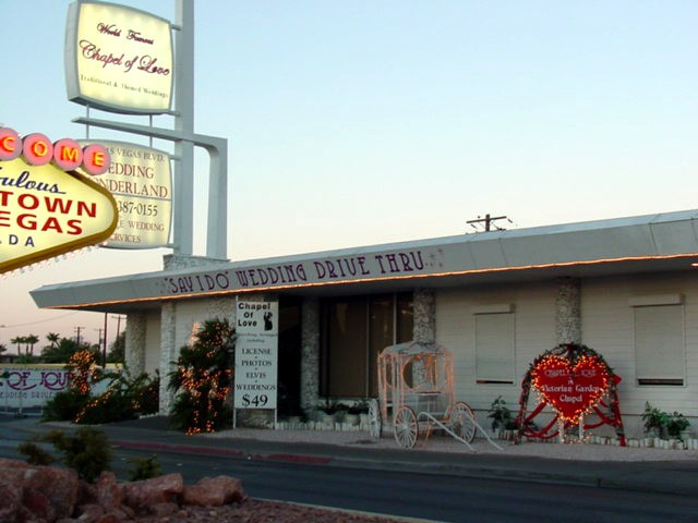 The World Famous Chapel of Love - as seen from the original Welcome to Downtown Las Vegas sign