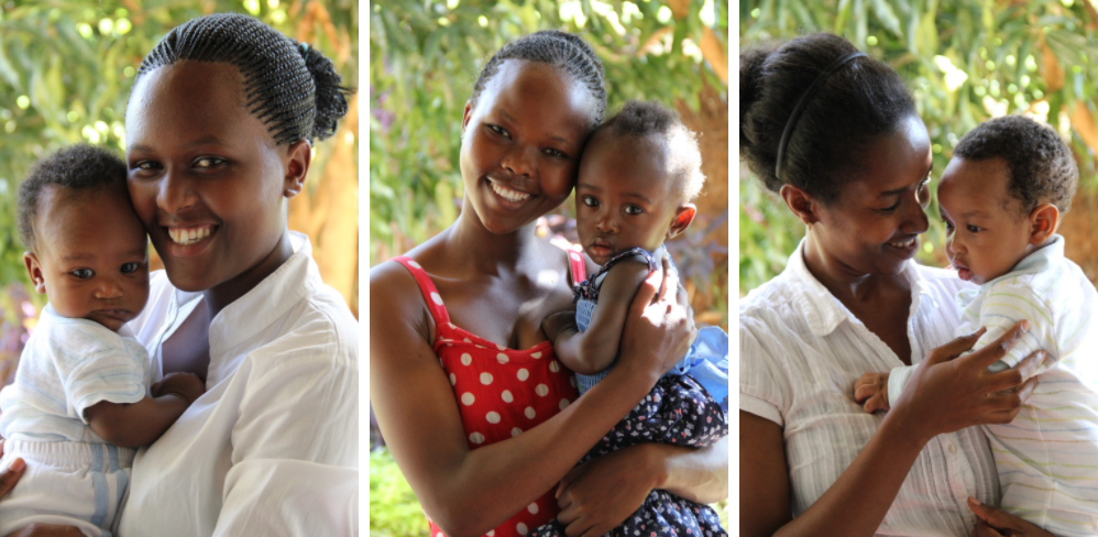The crèche  is open to all ages, though most babies are between 2 and 6 months old. Anastasia, pictured center, is the Crèche Manager and oversees childcare at Akilah.