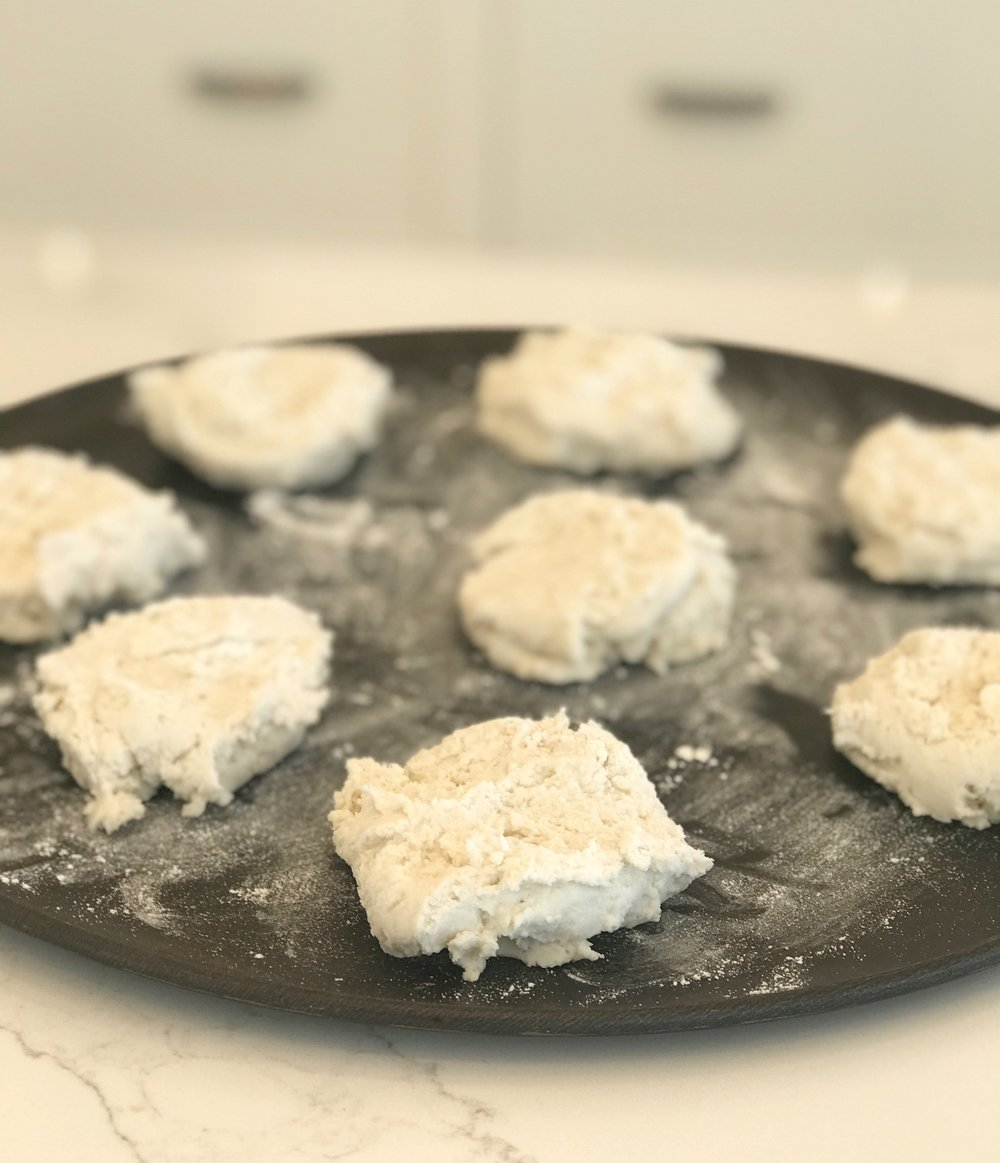 """GF Vegan Biscuits  3c gluten free flour  1 Tblsp baking powder  1 Tsp salt  6 Tblsp. Shortening (cold is best)   1 1/2 C """"Milk"""" Rice Milk or Pea Milk are my favorite for baking   Optional: for sweeter biscuits add 2 tblsp sugar     Pre-heat 425  Mix Dry Ingredients  Add shortening to dry mixture and cut it in with pastry cutter or two forks until mixture is crumbly  Creat a well in the center of the dry mix and pour the milk into the well  Gently mix the biscuit mixture until it has just come together  Drop large spoonfuls onto lightly floured baking sheet and lightly press the top so it's not too round, do not over flatten  Optional: brush melted """"butter"""" of your choice (I use Nucoa or Earth Balance) on the top for browning  Bake for 15-20 min  Enjoy!!!❤️     Xoxo   Cass"""
