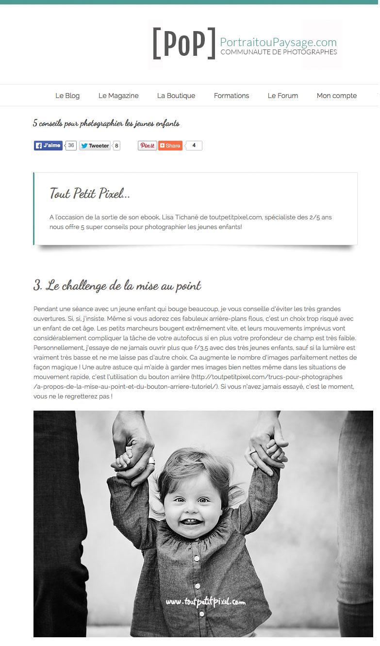 Portrait ou Paysage - photographier les jeunes enfants