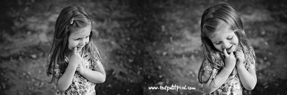 Portrait petite fille noir et blanc Marseille