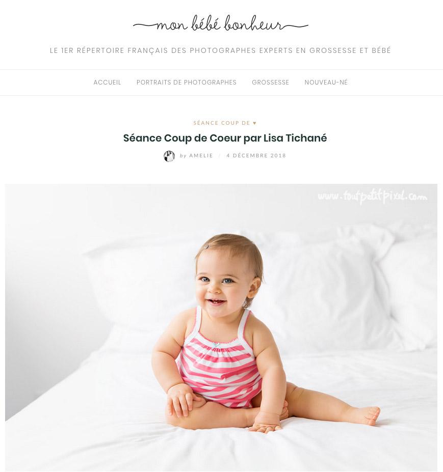 Parution web Mon Bébé Bonheur par Tout Petit Pixel photographe bébé et enfant à Marseille