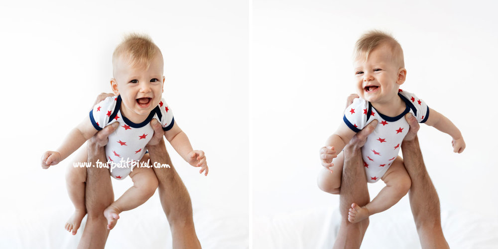 Bébé souriant qui vole dans les airs par Tout Petit Pixel, photographe bébé à Marseille