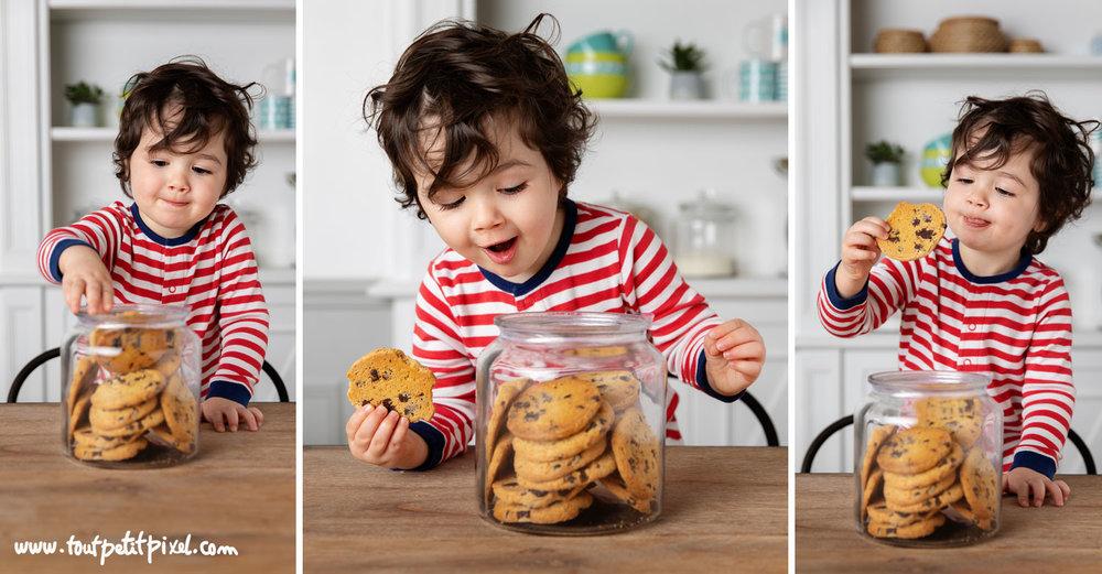 Jeune enfant qui mange des cookies par Tout Petit Pixel, photographe enfant lifestyle