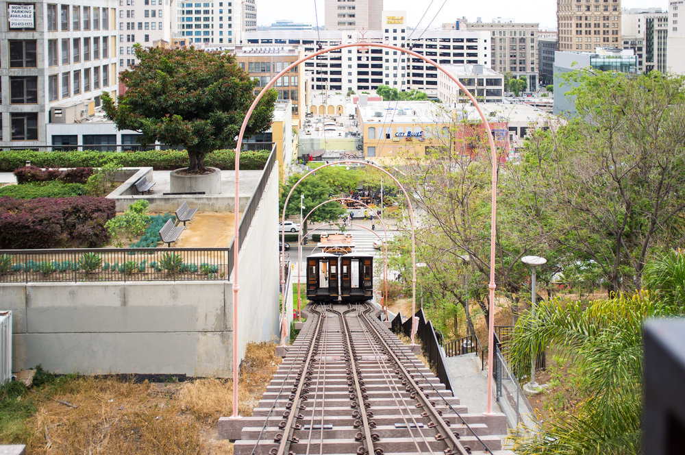Looking down at the tracks from the teriminus at California Plaza.