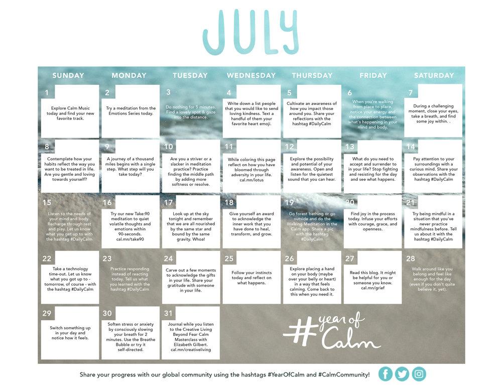 July Mindful Living Calendar