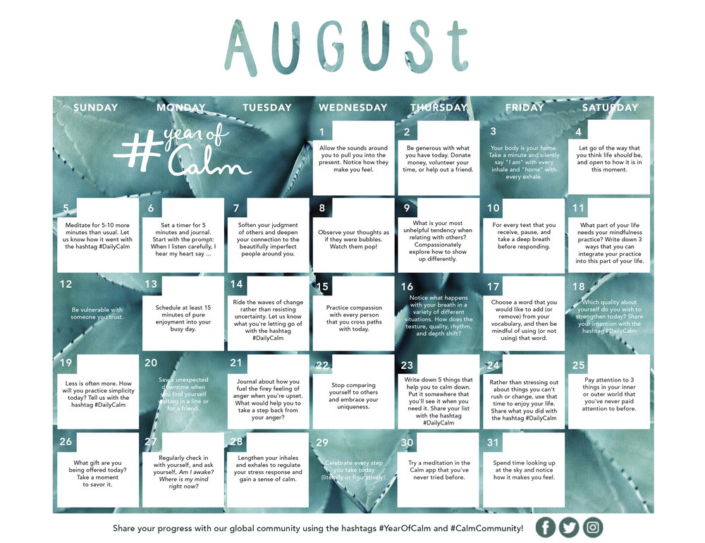 August Mindful Living Calendar