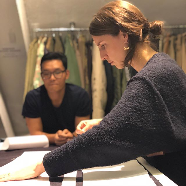 Full test mode with unspun custom patterns! And, no, we do not all match our denim work fabric every day... #fashiontech #techstyle