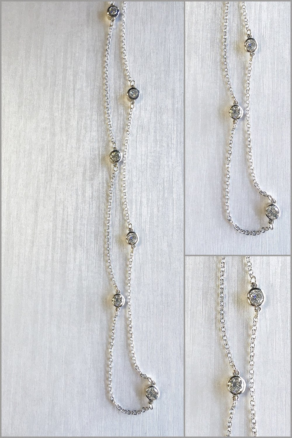 14K White Gold Diamonds By The Yard Necklace.