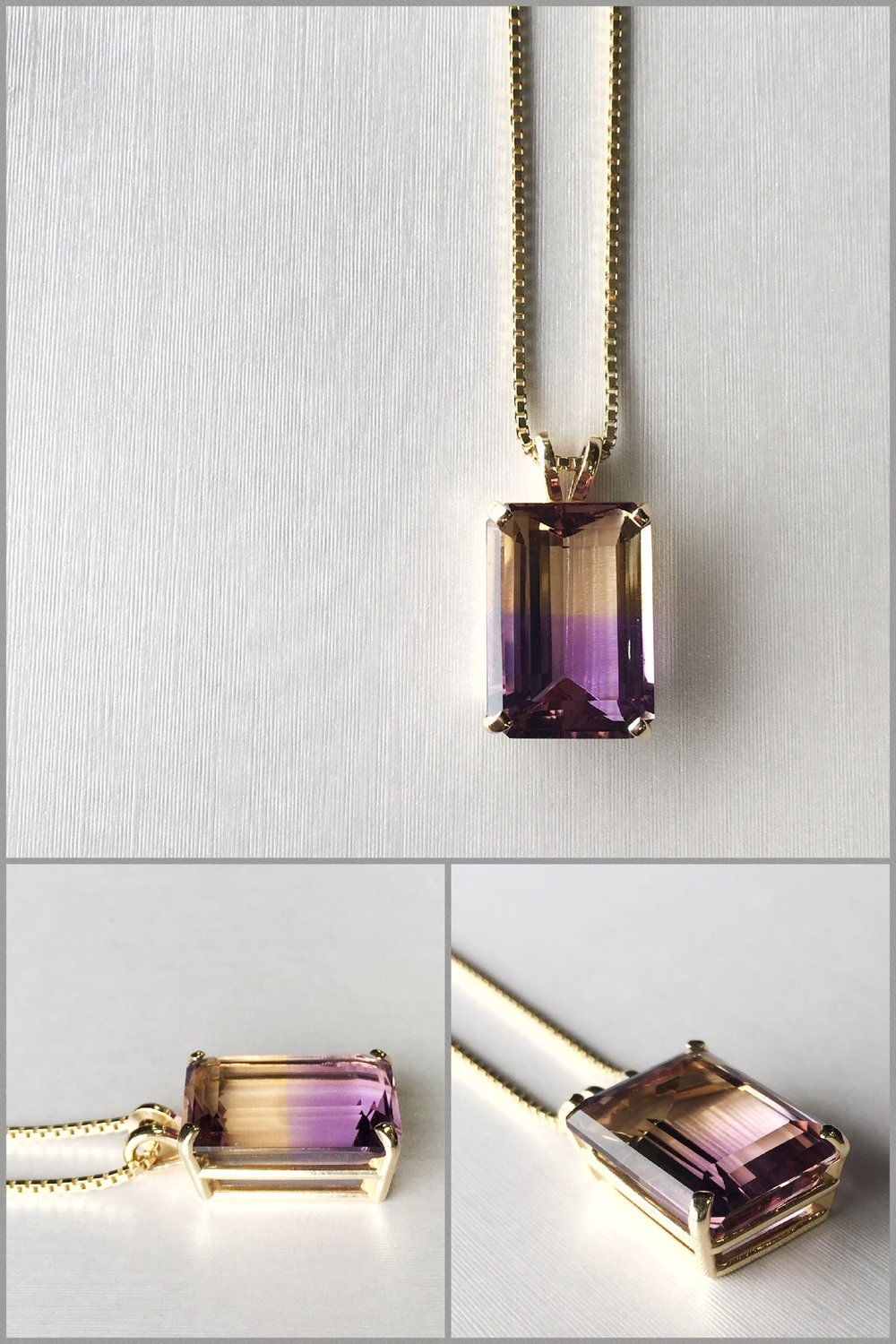 Emerald Cut Ametrine set in 14K Yellow Gold Setting.