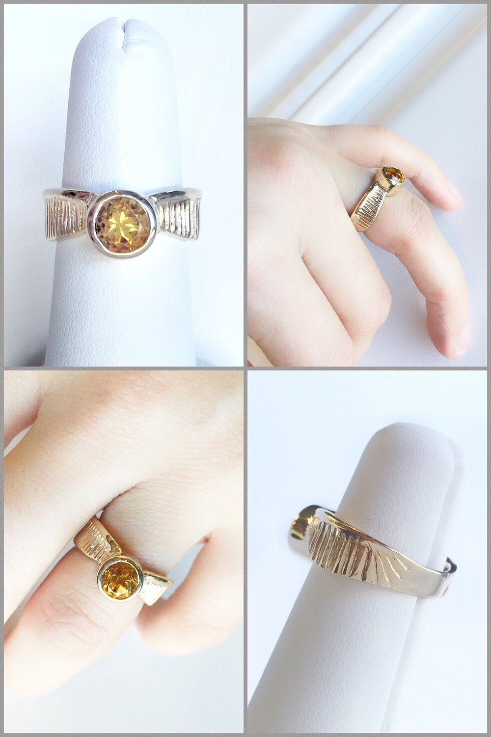 14K Yellow Gold Citrine Golden Snitch Ring, Hand Carved, from the Harry Potter movies.