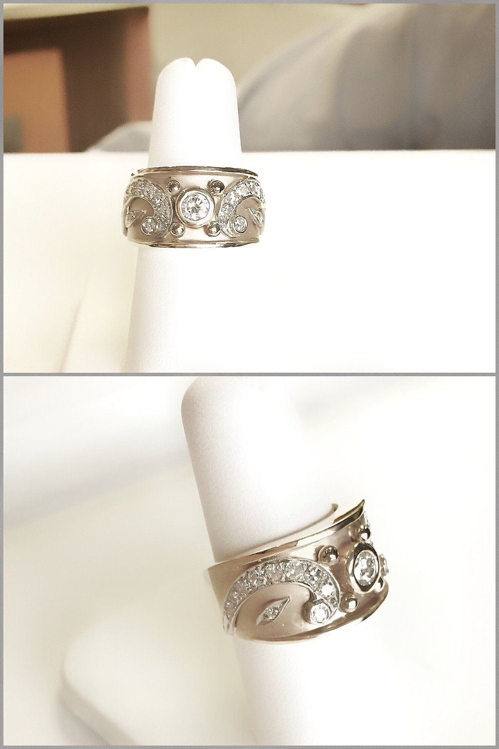 Two Tone Diamond Byzantine Ring made with customers pair of Diamond Paisley Earrings.