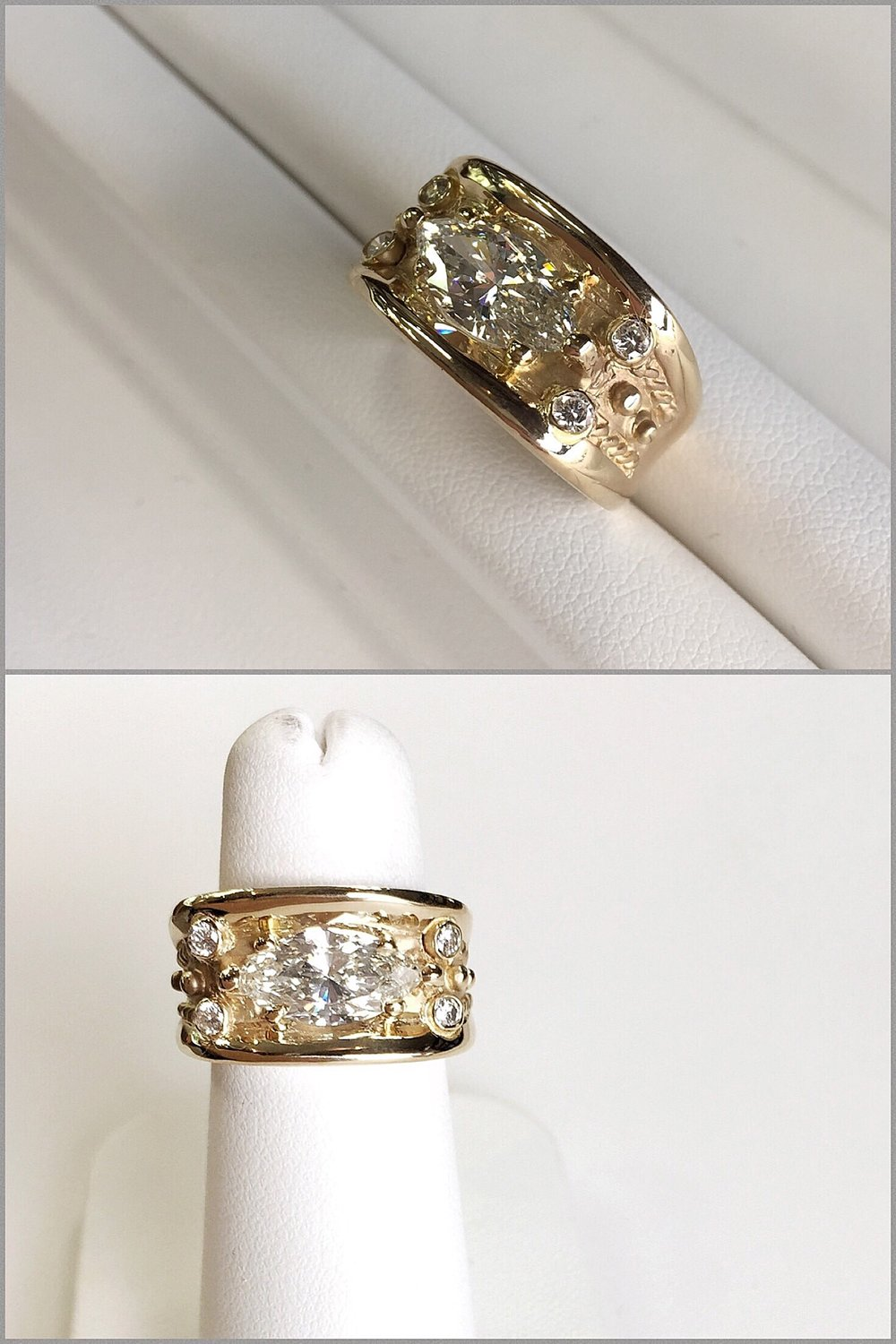18K Yellow Gold Custom Made Ring With 2 Carat Weight Marquise in Center.