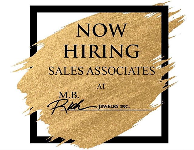 We are excited to announce that we are now hiring sales associates to join the M.B. Rich team! We are looking for professional and outgoing individuals who are looking to fall in love with the jewelry industry as much as we have! 💎  Click on the link in our bio for more information! - - - #lakecharles #lakecharlesjobs #jobs #nowhiring #salesassociate #supportlocal #finejewelry #jewelrystore