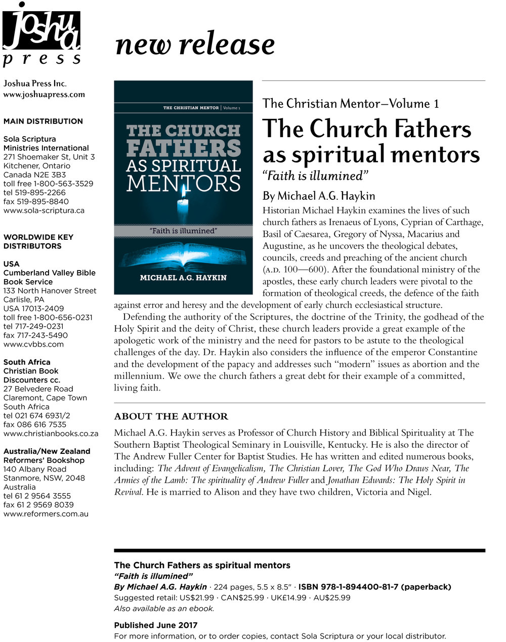 New Release: The Church Fathers as Spiritual Mentors by Michael A.G. ...
