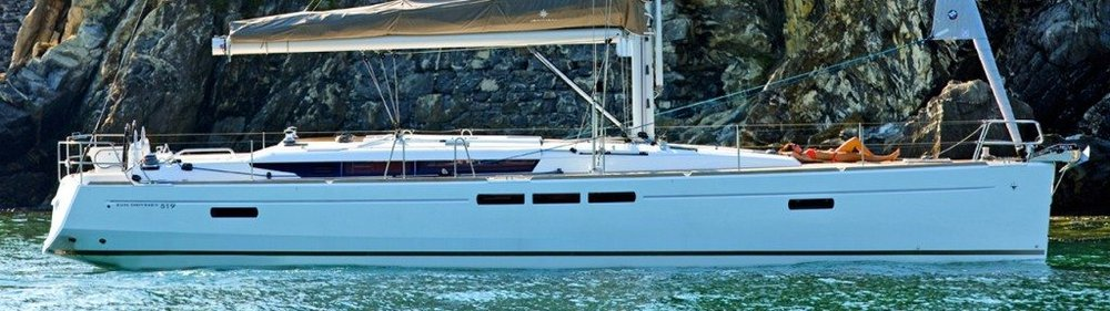 Our yacht - the Jeanneau 519 with 5 cabins, 3 heads.