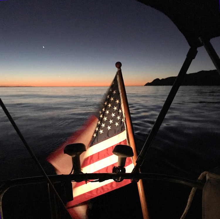 Night sailing and navigation on the way to Catalina
