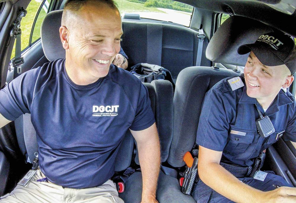 Working with students at the DOCJT training academy provides an opportunity for Vehicle Operations Training Instructor Jeff Knox to share his experiences from his law enforcement career and hopefully keep them safer on the road. (Photos by Jim Robertson)