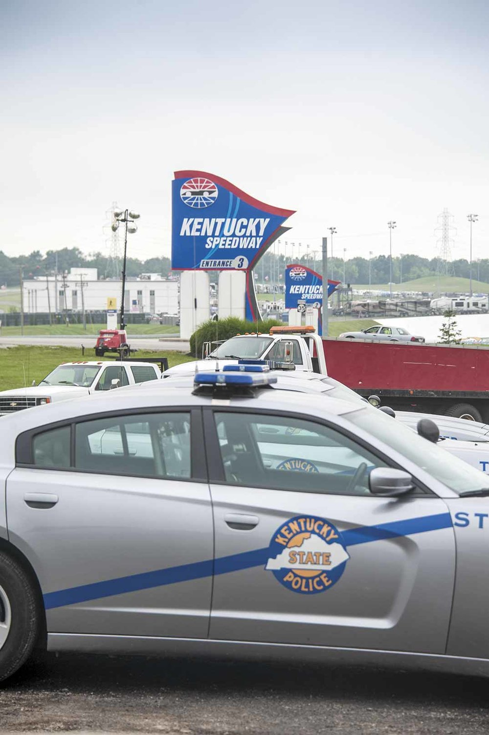 The Kentucky Speedway adds additional challenges to the Gallatin County Sheriff's Office. Each year approximately 80,000 people flood the speedway and surrounding campgrounds. (Photo by Jim Robertson)