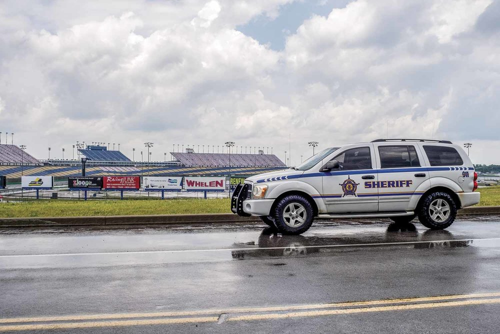 Patrolling the massive area surrounding the speedway and keeping thousands of campers safe during severe-weather situations dominates the agency's personnel during the large Kentucky Speedway races. (Photo by Jim Robertson)