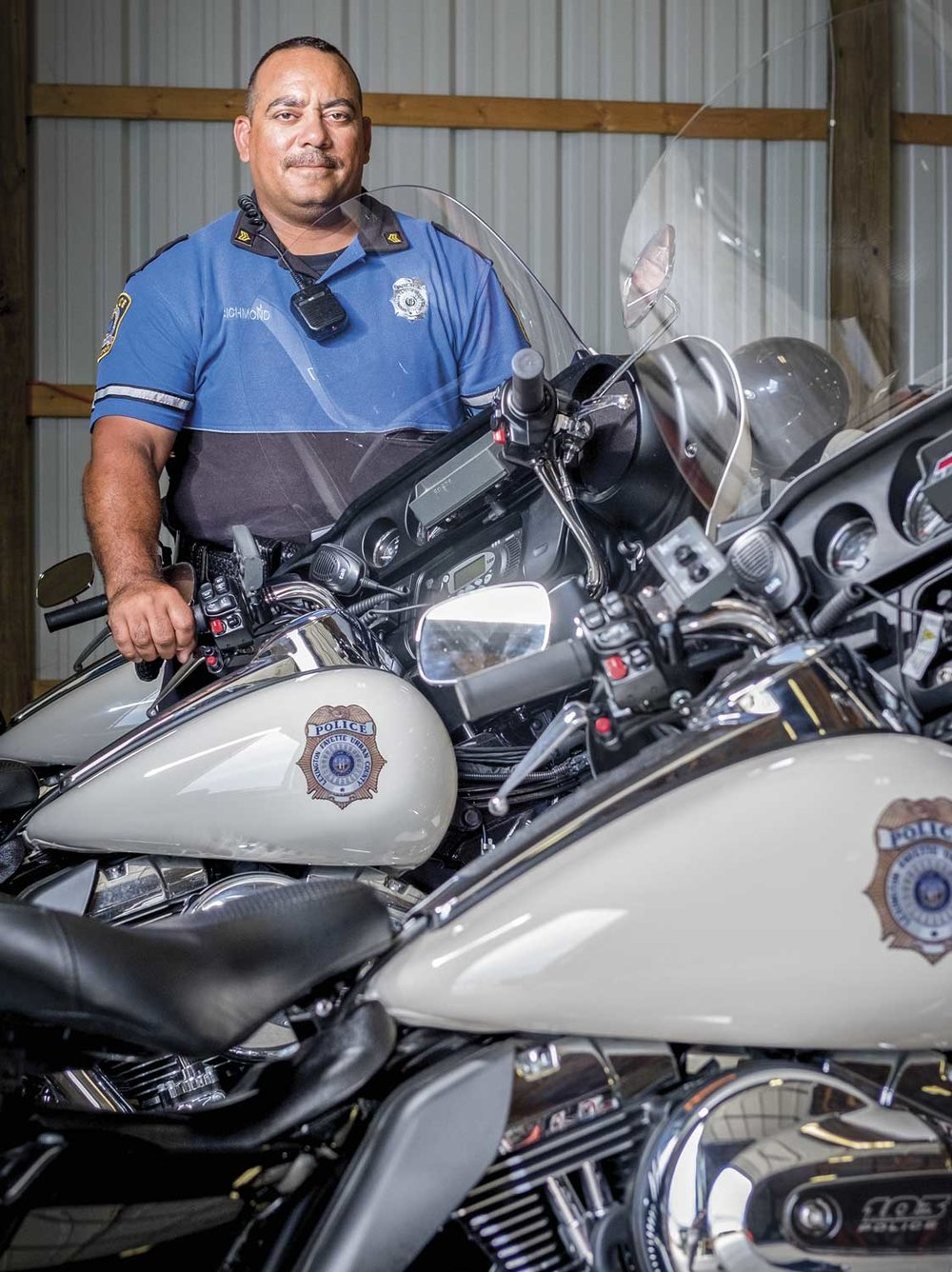 Officer Billy Richmond has served the Lexington Police motorcycle unit for nine years, and has passed his knowledge and bike-handling expertise on to dozens of officers as an instructor in Lexington's police motorcycle course.  (Photo by Jim Robertson)
