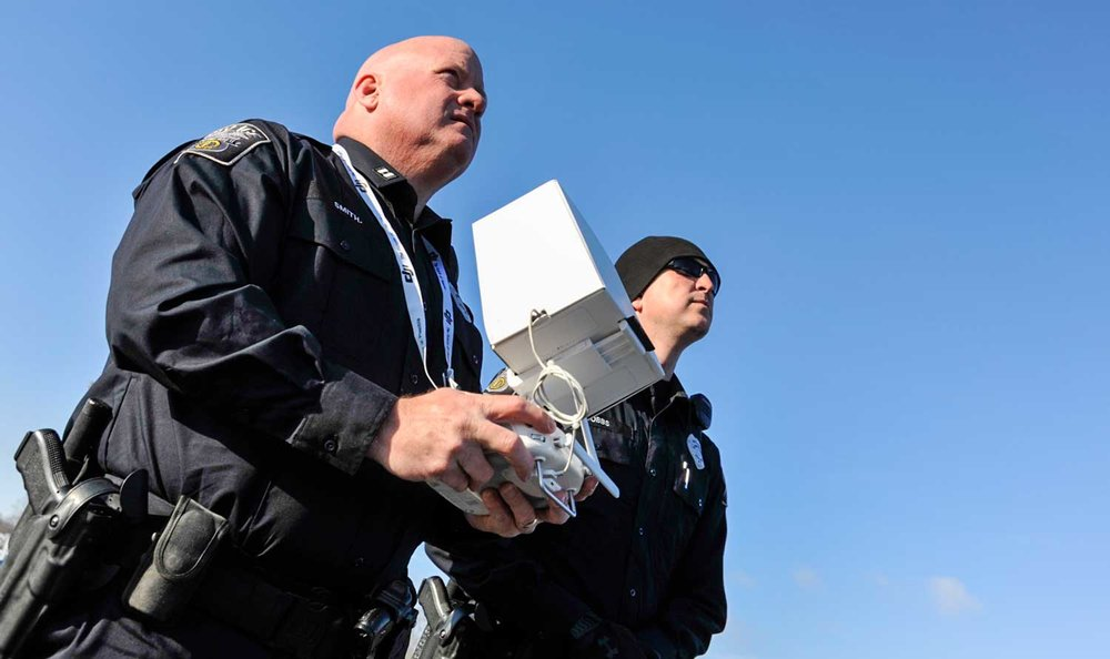 Somerset Police Officer Shawn Dobbs, right, served as Somerset Police Capt. Shannon Smith's visual observer while flying the agency's drone recently. A visual observer is a mandatory requirement among the FAA's safety rules and regulations. (Photos by Jim Robertson)