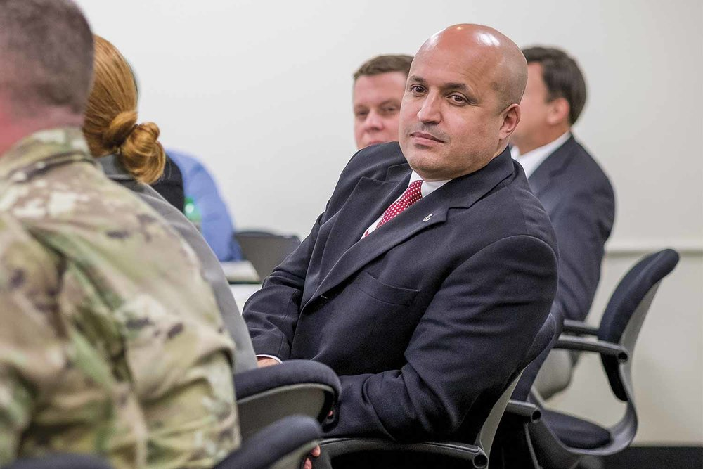 KOHS Executive Director John Holiday listens as stakeholders in Kentucky's security discuss possible threats during an exercise. (Photo by Jim Robertson)