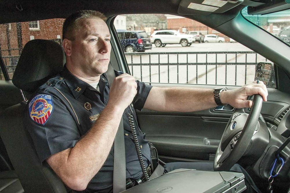Pikeville Police Capt. Aaron Thompson is less than three years away from retirement. The 17-year veteran said he looks forward to engaging in a second career once he hangs up his gun belt. (Photo by Jim Robertson)
