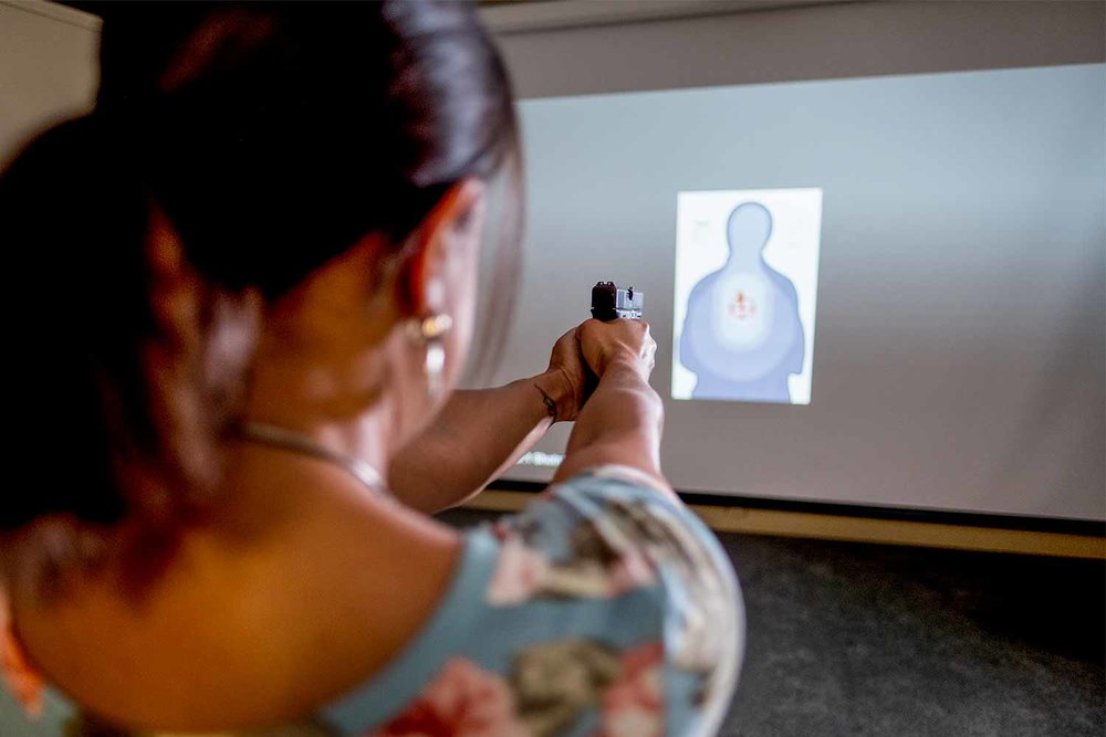 JCSO installed a firearms training system, which has been up and running for about seven months. KACo used to loan the agency a system for a month to get all JCSO deputies through, but now they intend to use the agency's new FATS facility to help smaller agencies as well. (Photo by Jim Robertson)