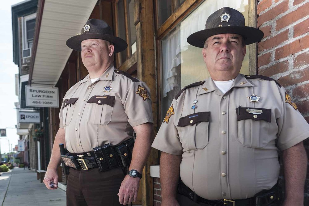 Owen County Sheriff Mark Bess, left, and Chief Deputy Marty Lilly believe building a good rapport with the community is key for small-town police agencies. (Photo by Jim Robertson)