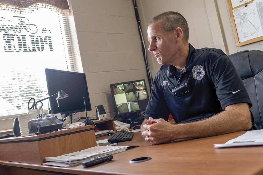Ferguson Police Chief Anthony Phillips said the area he serves in Pulaski County sees a dramatic increase of traffic when warmer weather moves in, as many people flock to the nearby lakes for recreation purposes. (Photo by Jim Robertson)
