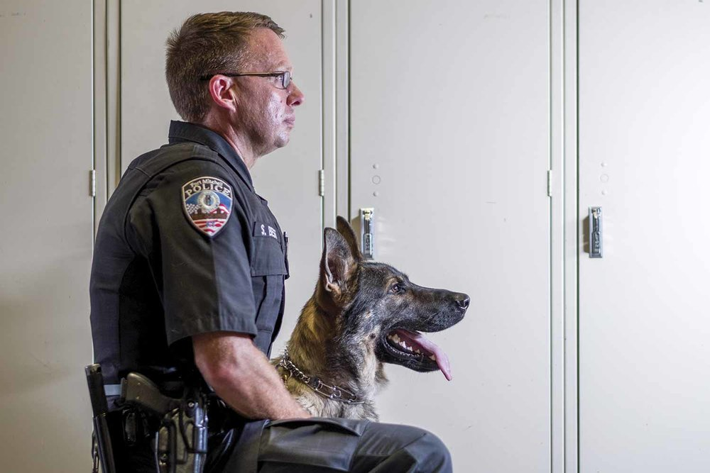 Fort Mitchell Police Specialist Shane Best works daily with his K9 partner, Tony, and sees the difference Tony already is making on the streets. (Photo by Jim Robertson)