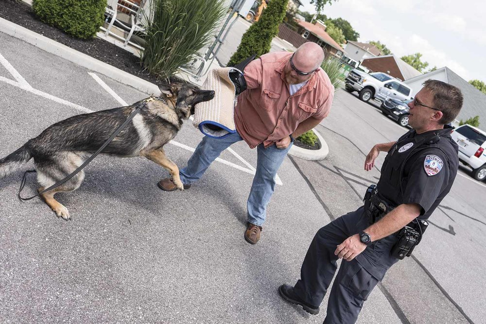 FMPD Specialist Shane Best said he and Tony train one day every week with other local K9 officers to maintain Tony's skills and certifications. (Photo by Jim Robertson)