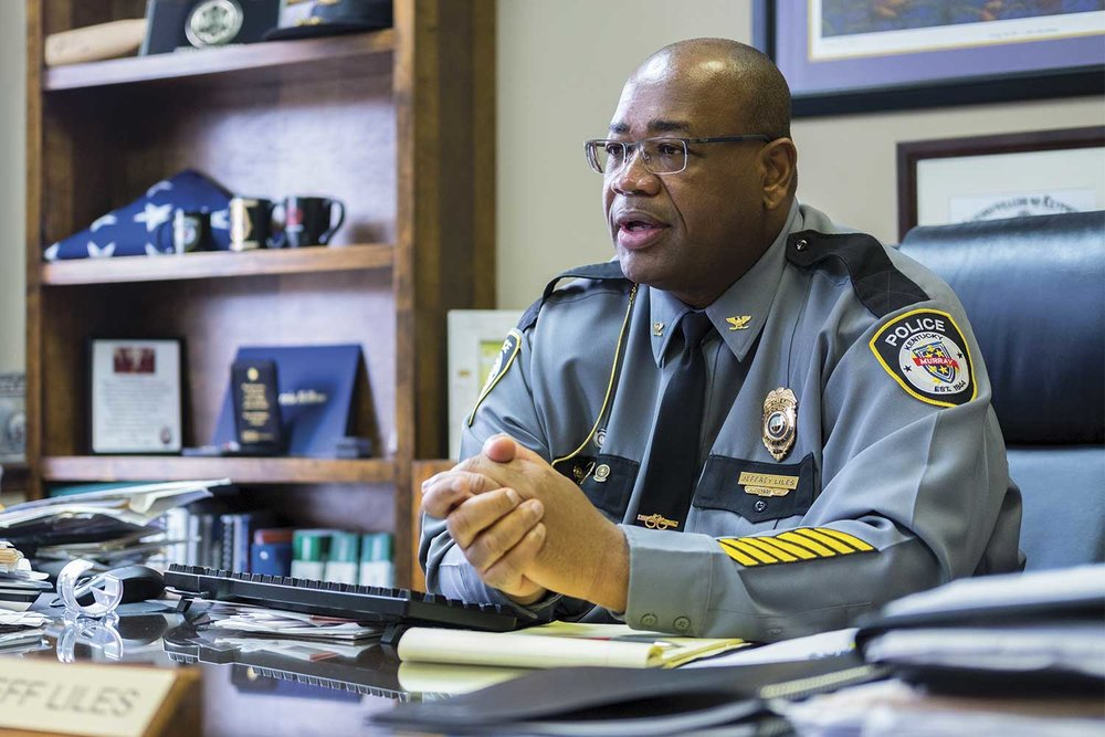 Murray Police Chief Jeff Liles has served the agency for 27 years, rising through the ranks to become chief. After playing football for Murray State University, the Alabama native said he decided to make Murray his home. (Photo by Jim Robertson)
