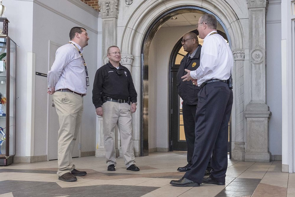 Following the tragic school shooting at nearby Marshall County High School, Murray Police met with local school administrators to serve in a support capacity, ensuring the safety and comfort of students, school personnel and parents. (Photo by Jim Robertson)