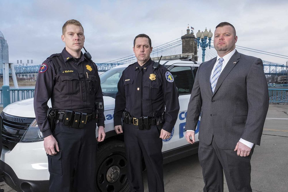 Covington Police Lt. Justin Wietholder, left, Chief Robert Nader, center, and Detective Tony Jansen said the December 2013 standoff with a military veteran led to new ideas and methods for many northern Kentucky agencies. (Photo by Jim Robertson)