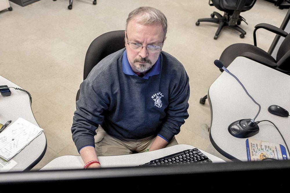 Terminal Agency Coordinator David Mefford has served with the Maysville Police E-911 Center since 1998. As a 24-hour response center, Mefford said callers often don't need emergency services, and while it can be irritating, dispatchers have to remind themselves it is an emergency to the caller or they wouldn't be calling. (Photo by Jim Robertson)