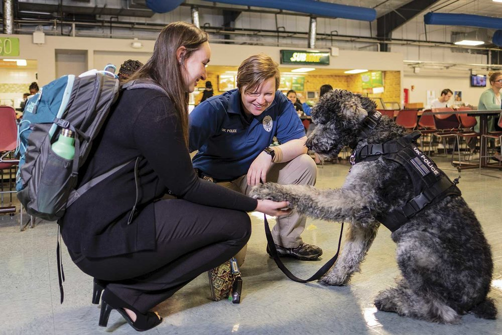 University of Kentucky Police Officer Amy Boatman and UKPD therapy dog Oliver interact with students inside Bowman's Den on the campus. Since Oliver came to the UKPD, he has helped build solid relationships between the police department and the university community. (Photo by Jim Robertson)