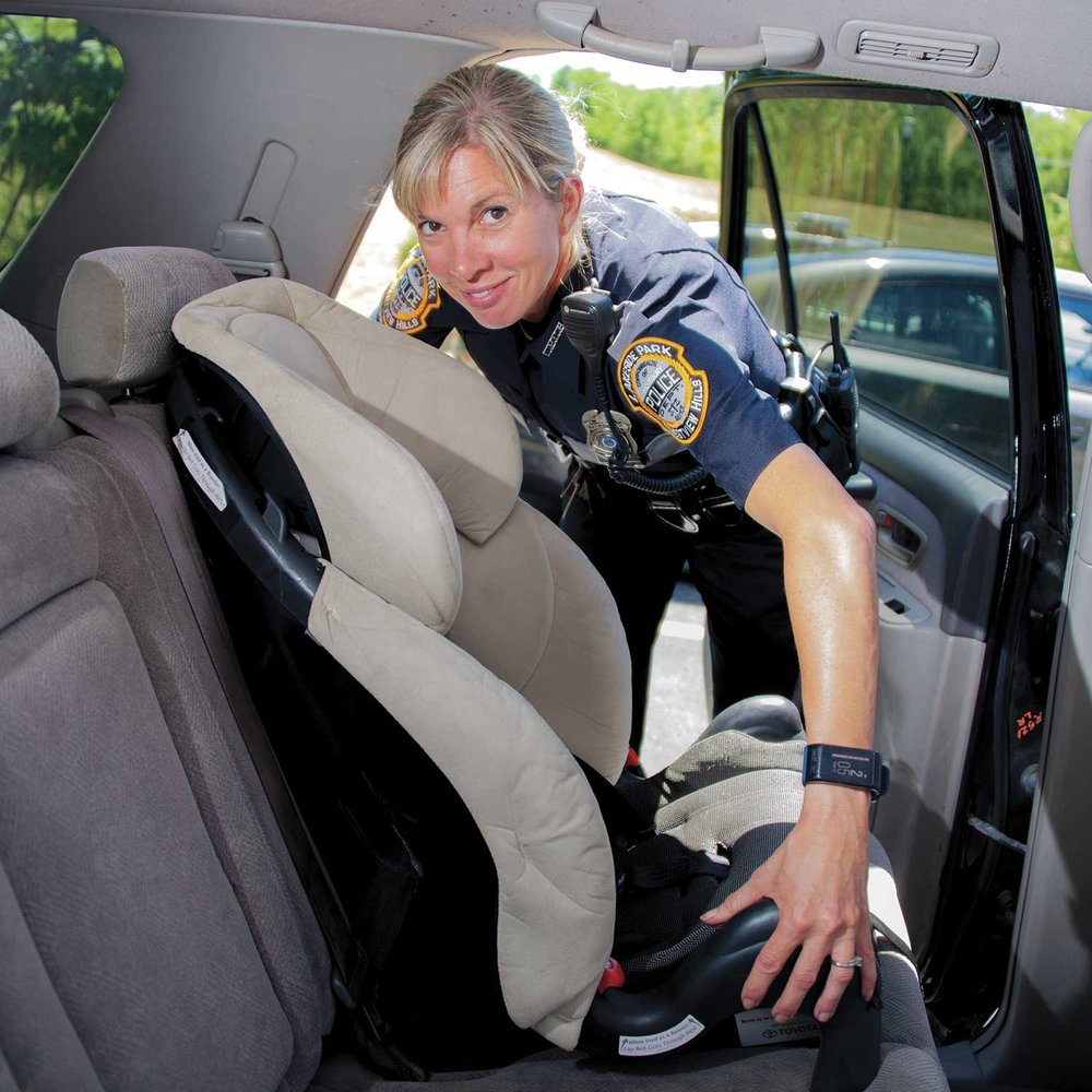 LPCH Police Officer Autumn Ruehl joined the department in 2016 as the department's 13th officer. Ruehl is one of LPCH's officers trained to properly install car seats, a responsibility to the community she thinks is critical. (Photo by Jim Robertson)