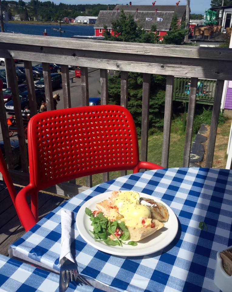 Lobster Benedict is served with an ocean front view at the  Savy Sailor  in Lunenberg, Nova Scotia.