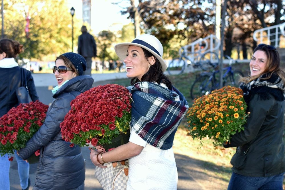 Colorful mums which decorated the Reunion Village found new homes following the close of ceremonies.