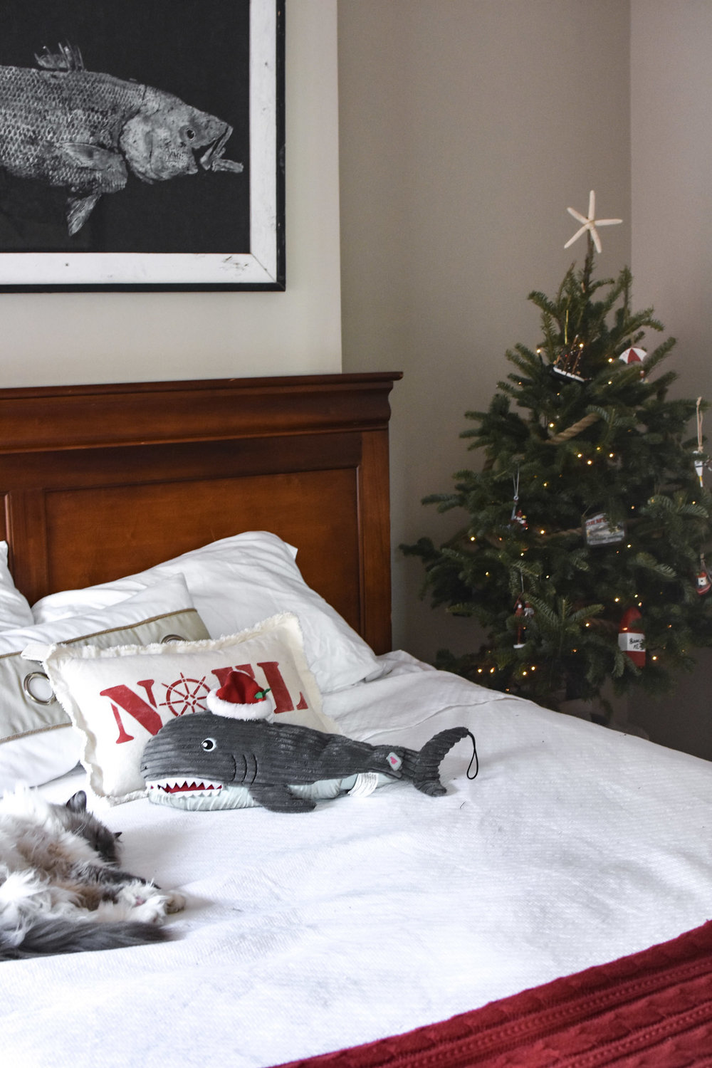 This delightful print from  Pete's Fresh Fish Prints  hangs above the bed all year long.  Flick-the-cat has a penchant for tossing off his Santa hat; however on Ralphie-the-dog's whale toy, it fits just right.